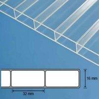 ACRYL Doppelstegplatte - Struktur glatt - 1200mm breite - 16mm Stärke - glasklar / transparent - Stegdoppelplatte VLF-SDP16-AC