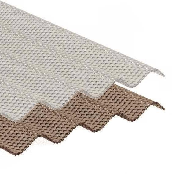 ACRYL Sinusplatte 76/18 - Struktur Wabe - glasklar/ transparent