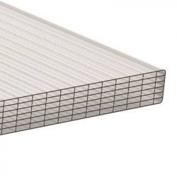 PC Stegsiebenfachplatte - Struktur glatt - 980mm breite - 25mm Stärke - glasklar / transparent