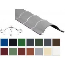 Firstblech halbrund - Stahl - 1860mm - 0,50mm Stärke - 25 µm Polyester