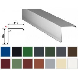 Ortgangwinkel - Stahl - 2000 x  115 x 115mm - 90° - 0,50mm Stärke - 25 µm Polyester