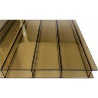 ACRYL Doppelstegplatte - Struktur glatt - 1200mm breite - 16mm Stärke - bronze / braun - bronze / braun
