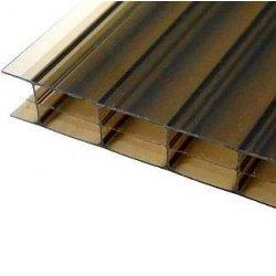 PC Dreifachstegplatte - Struktur glatt - 1200mm breite - 16mm Stärke - bronze / braun