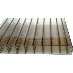 PC Stegsiebenfachplatte - Struktur glatt - 980mm breite - 25mm Stärke - bronze / braun