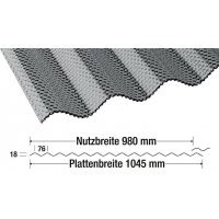 ACRYL Lichtplatte - Struktur Wabe - Sinus 76/18 - Stärke 4,5mm - perlgrim / anthrazit grau - perlgrim / anthrazit grau